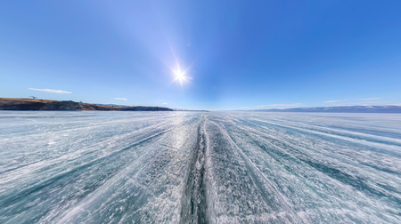 equirectangular: large-format panorama wide crack in the ice of Lake Baikal. Stock Photo