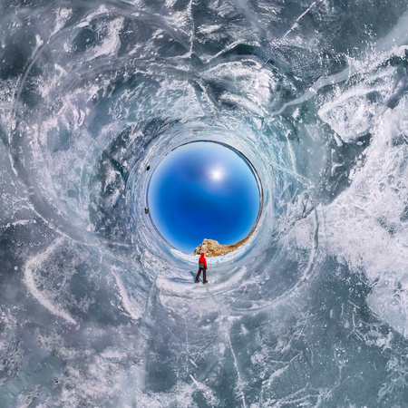 The spherical polar panorama of 360 people at the rock on the ice of Lake Baikal. Little planet.