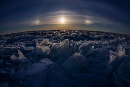 lunar halo of ice hummocks Baikal.