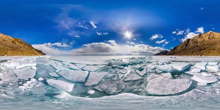 spherical panorama of 360,180 degrees Baikal ice hummocks in Olkhon Island.