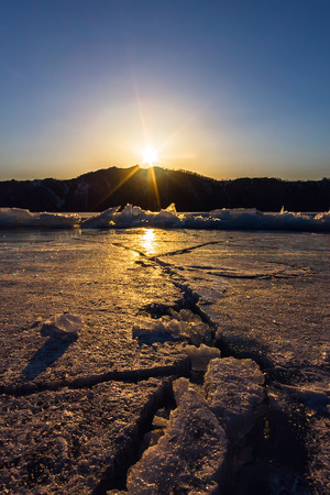 baical: Wide crack in the ice of Lake Baikal