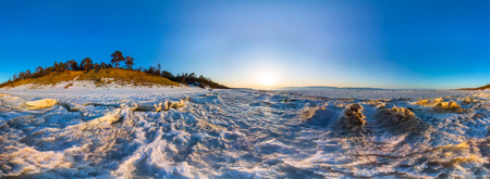 equirectangular: 360 panorama of snow sunrise wave on the shore of Olkhon. Baikal.