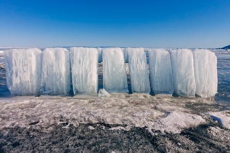 Ice blocks on blue ice, Olkhon island, Lake Baikal.