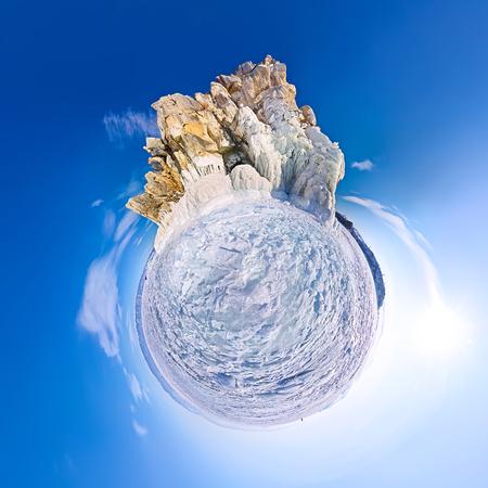 Spherical panorama 360 180 degrees Cape shaman on the island of Olkhon, Lake Baikal. Stock Photo