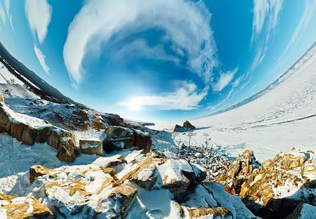 Shaman Cape on Olkhon Island, Baikal, fish-eye aerial.