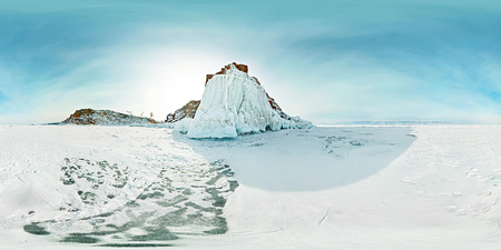 Spherical panorama 360 180 rock shamanka on the island of Olkhon in winter