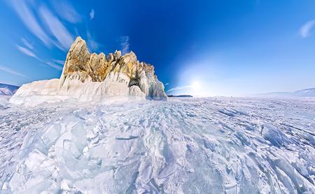 hummock: Shaman Cape on Olkhon Island, Baikal, fish-eye aerial.