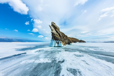shamanism: Transparent ice on Lake Baikal near Ogoy island. Siberia, Russia.