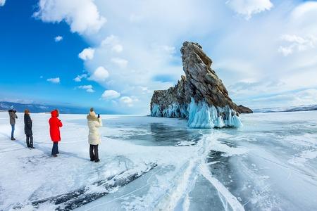 Transparent ice on Lake Baikal near Ogoy island. Siberia, Russia