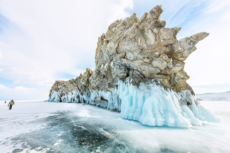 shamanism: Transparent ice on Lake Baikal near Ogoy island. Siberia, Russia