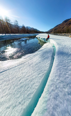Wide-angle panorama of man on ice melting river.