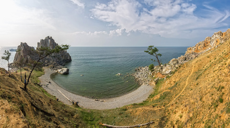 shamanism: Baikal Lake in summer. Olkhon Island. Sundays Outdoors. Shamanka Rock