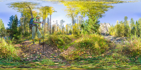 Spherical panorama 360 degrees 180 tourist with a backpack walking. vr content.