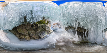 360 180 panorama dawn in an ice cave with icicles on Baikal, Olkhon.