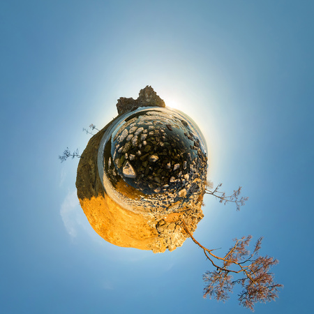 The melting ice of Lake Baikal near the cape shamanka Spherical panorama 360