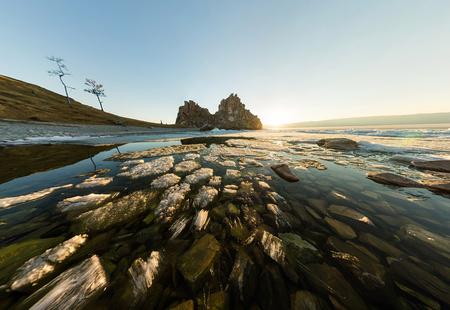 Panorama melting ice of Lake Baikal near the cape shamanka. Фото со стока