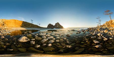 The melting ice of Lake Baikal near the cape shamanka Фото со стока