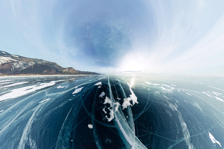 Panorama cracks on blue ice of Lake Baikal from Olkhon.