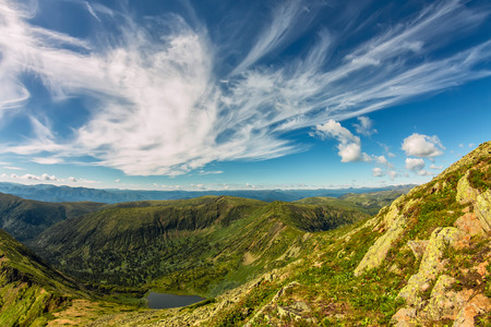 Lake in green mountains with feathery clouds, summer landscape.