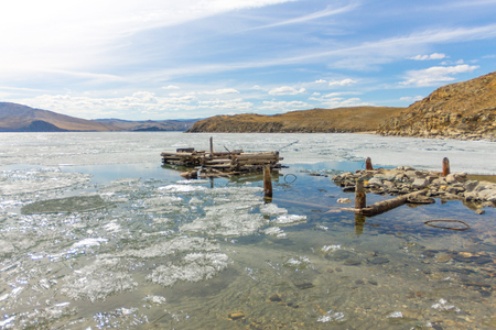 Lake Baikal in spring. old berth view of the ice drift in the small sea from the coastal rocks.