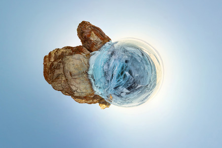 blue ice of Lake Baikal, the cliffs of the island of Olkhon. Tiny planet 360vr panorama. Фото со стока - 102899081