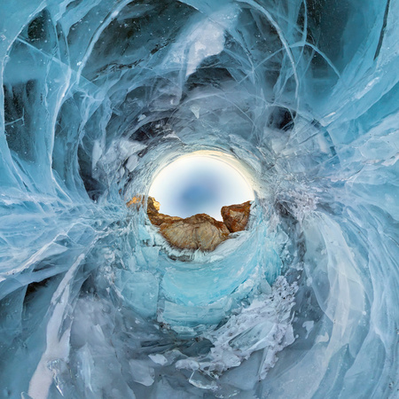 blue ice of Lake Baikal, the cliffs of the island of Olkhon. Tiny planet 360vr panorama. Фото со стока - 102875167