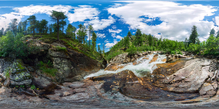 mountain river with rapids in the taiga forest. Spherical panorama 360vr degrees.