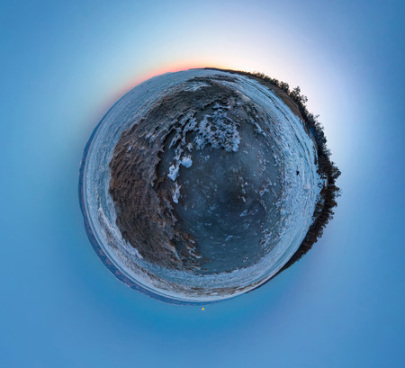 Dawn on a sandy beach on the island of Olkhon. Tiny planet, spherical panorama