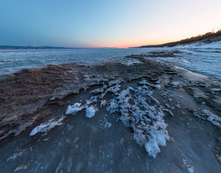 Dawn on a sandy beach on the island of Olkhon. Wide-angle panorama Фото со стока