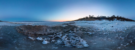 Dawn on a sandy beach on the island of Olkhon. cylindrical 360 degree vr panorama Фото со стока