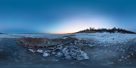 Dawn on a sandy beach on the island of Olkhon. Spherical 360 degree vr panorama Фото со стока