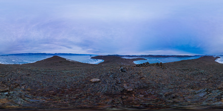 360vr spherical panorama dawn on Olkhon Island, Cape mares head Фото со стока