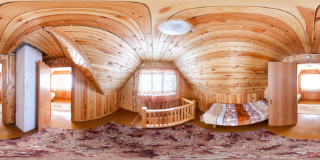 Room for one people in a wooden house hostel. Spherical 360 180 vr panorama