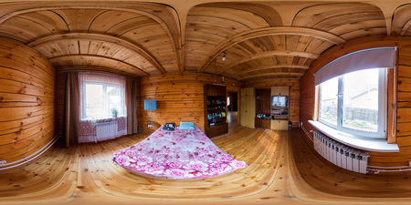 Interior of a bedroom in a wooden house of beams, spherical 360Vr panorama