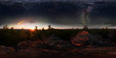 Dawn in the forest under the starry sky a milky way. 360 vr degree spherical panorama.
