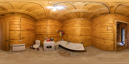 The interior of the bathroom in a wooden house of beams, spherical 360Vr panorama