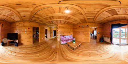 The interior of the hall in a wooden house of beams, spherical 360Vr panorama