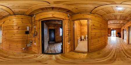 Interior hallway in a wooden house of beams, spherical 360vr panorama