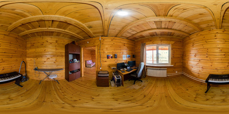 Interior of a nursery in a wooden house of beams, spherical 360Vr panorama