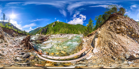 Spherical panorama 360 degrees 180 turbulent river and bridge fe Фото со стока