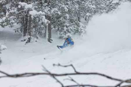man skier free rider goes down on powder snow in the mountains in a snowfall