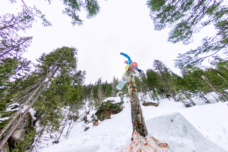 Freestyle snowboarder makes flatland standing on a log in a forest in winter mountains. Фото со стока