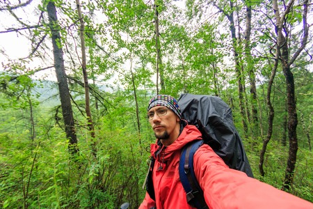 man tourist with a backpack goes along the path in a green rain forest of coniferous