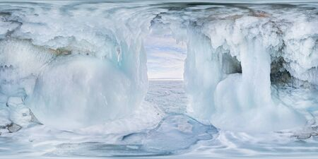 Blue Ice cave grotto on Olkhon Island, Lake Baikal, covered with icicles. Spherical panorama 360vr