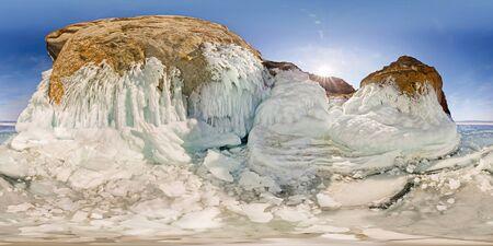 icy rocks of Olkhon Island are Lake Baikal. Spherical 360 180 vr panorama