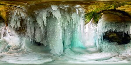 Icicles in the ice cave of Olkhon Island Lake Baikal. Spherical 360 180 vr panorama