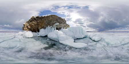 icy rocks of Olkhon Island are Lake Baikal. Spherical 360 180 vr panorama.