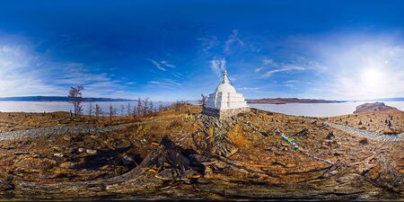 Buddhist stupa of enlightenment Ogoy on an island in Lake Baikal. vr content. spherical Panorama 360 degrees 180. Фото со стока - 126179581