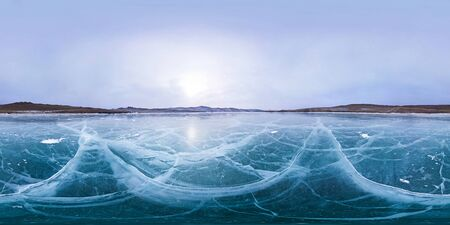 Cracks on smooth ice Lake Baikal. Spherical 360 180 vr panorama