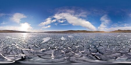 Frozen waves ice Lake Baikal. Spherical 360 180 vr panorama Stock fotó